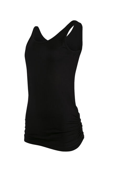 Ladies' Super Soft Ruched Side Tank, BLACK, hi-res