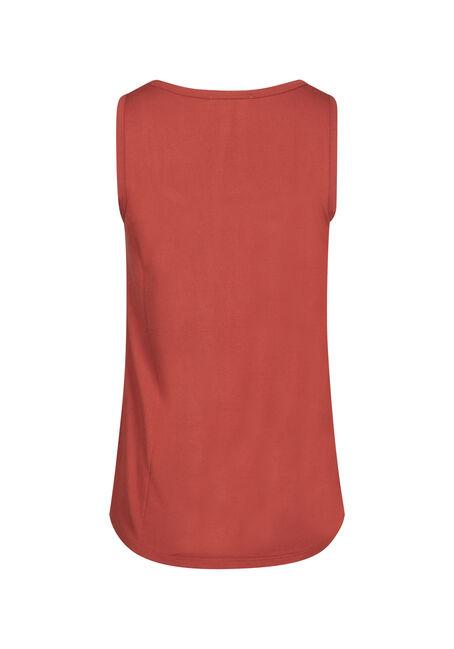 Women's Scoop Neck Loose Fit Tank, BURNT ORANGE, hi-res