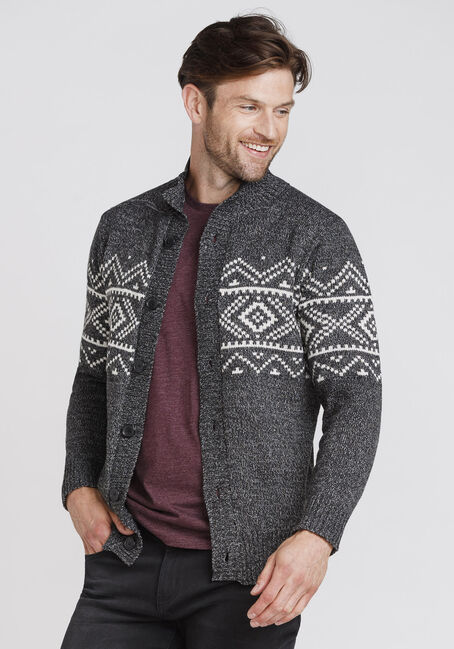Men's Nordic Cardigan, CHARCOAL, hi-res