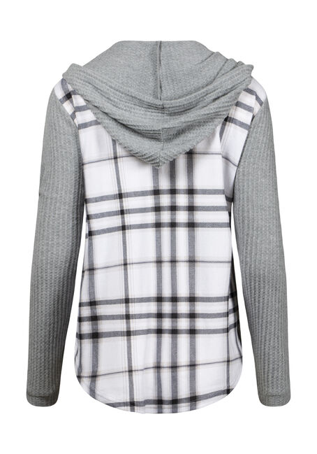 Women's Waffle Sleeve Hooded Plaid Shirt, BLK/WHT, hi-res