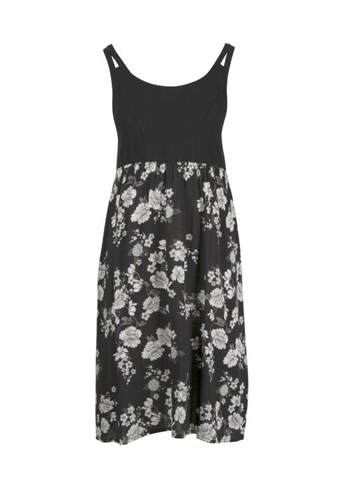 Women's Floral Tank Dress, BLK/WHT, hi-res
