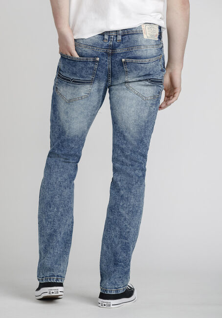 Men's Acid Wash Slim Jeans, LIGHT WASH, hi-res