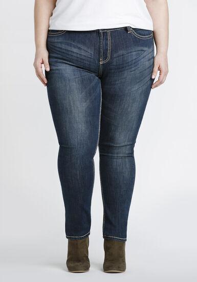 Women's Plus Size Classic Wash Skinny Jeans, DARK WASH, hi-res