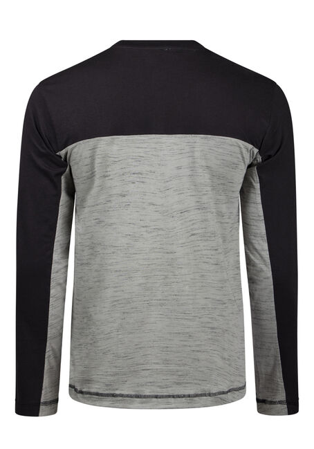 Men's Colour Block Henley, BLACK, hi-res