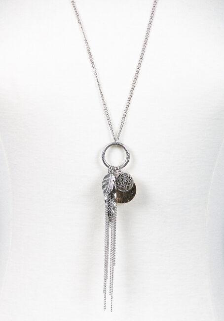 Women's Feather Pendant Necklace, SILVER, hi-res