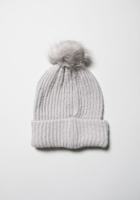 Women's Knit Hat, GREY, hi-res