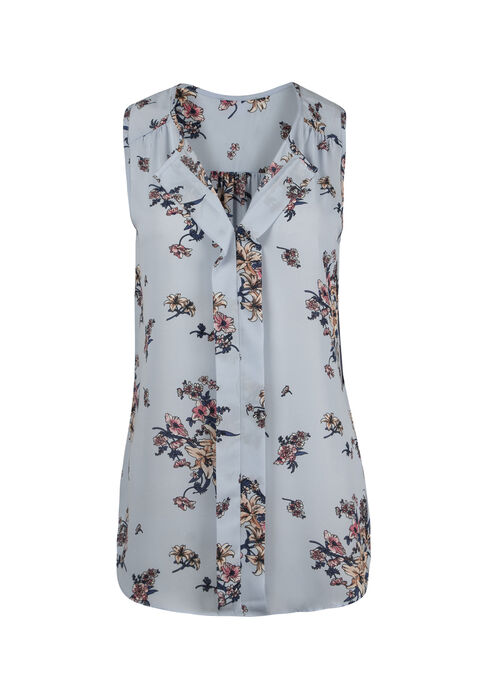 Women's Floral Pleat Front Tank, PALE BLUE, hi-res