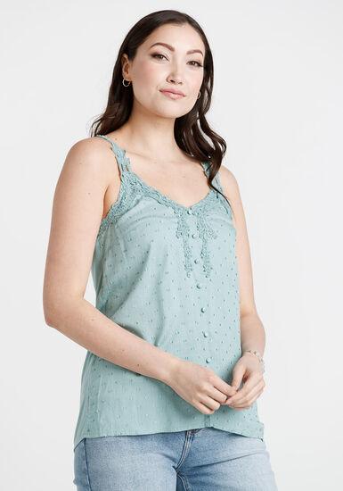 Women's Textured Crochet Tank, SEAGLASS, hi-res