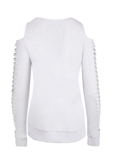 Ladies' Shredded Sleeve Fleece, WHITE, hi-res