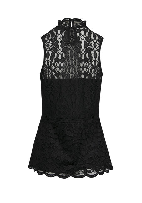 Ladies' Lace Peplum Tank, BLACK, hi-res