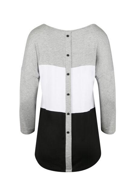 Ladies' Stripe Button Back Top, HEATHER GREY, hi-res