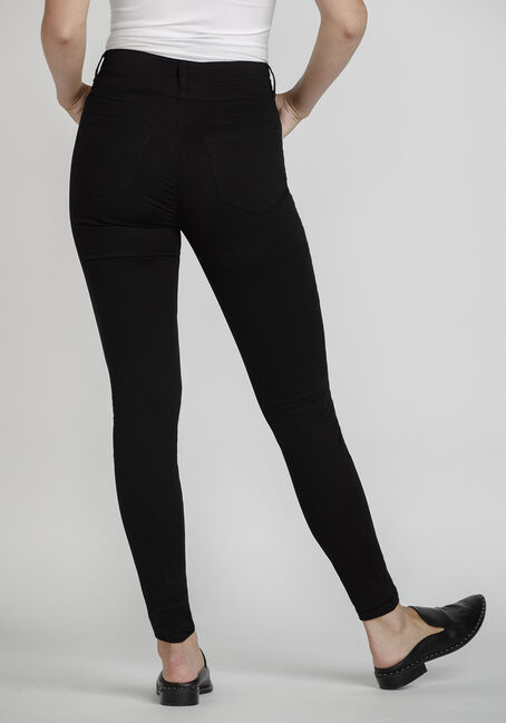 Women's High Rise Skinny Coloured Pant, BLACK, hi-res