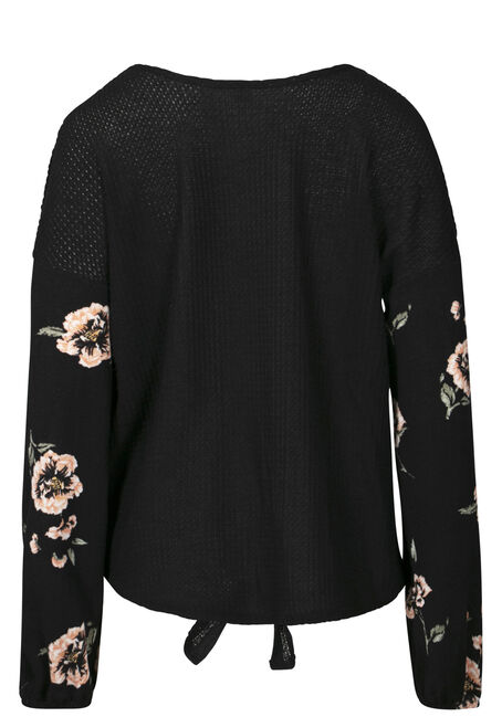 Women's Tie Front Top With Floral Sleeve, BLACK, hi-res