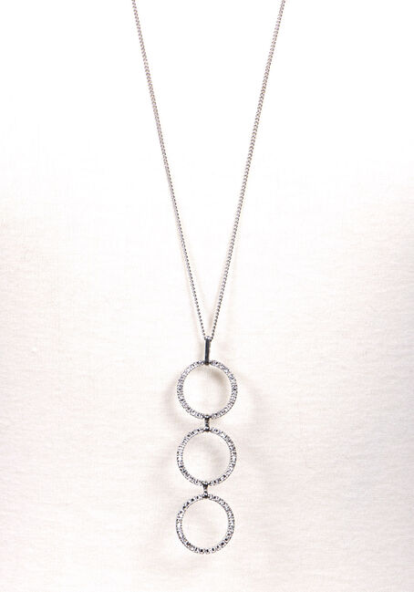 Women's Trio O's Necklace, SILVER, hi-res