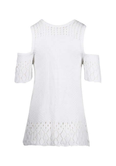 Women's Cold Shoulder Pointelle Sweater, WHITE, hi-res