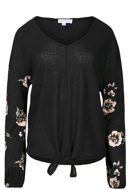 Women's Tie Front Top With Floral Sleeve