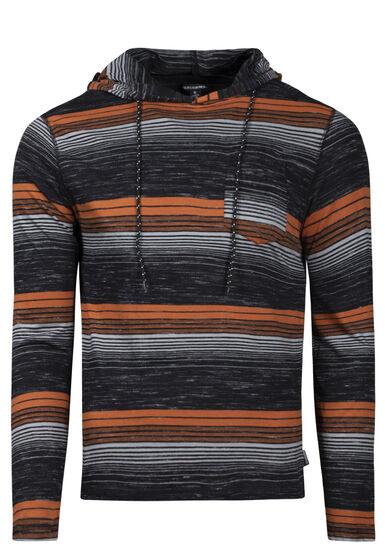 Men's Mini Stripe Hooded Tee, BLACK, hi-res