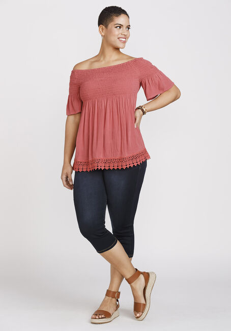 Women's Smocked Bardot Top, BLUSH, hi-res