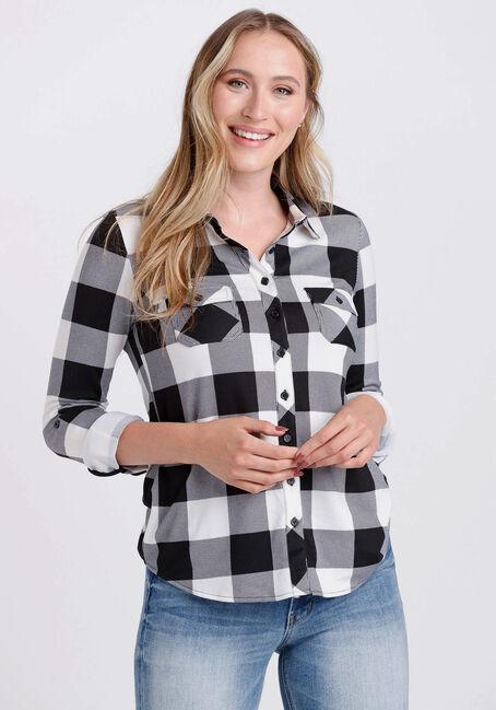 Women's Knit Buffalo Plaid Shirt