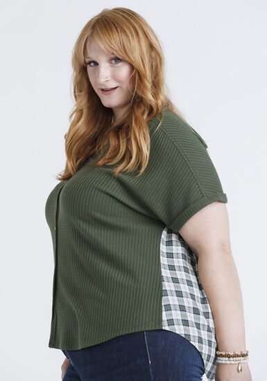 Women's Plaid Back Waffle Button Up Top, OLIVE, hi-res