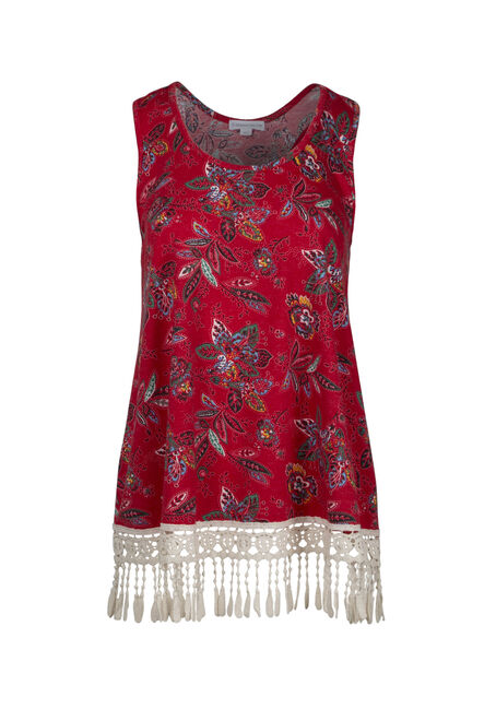 Women's Floral Crochet Trim Tank
