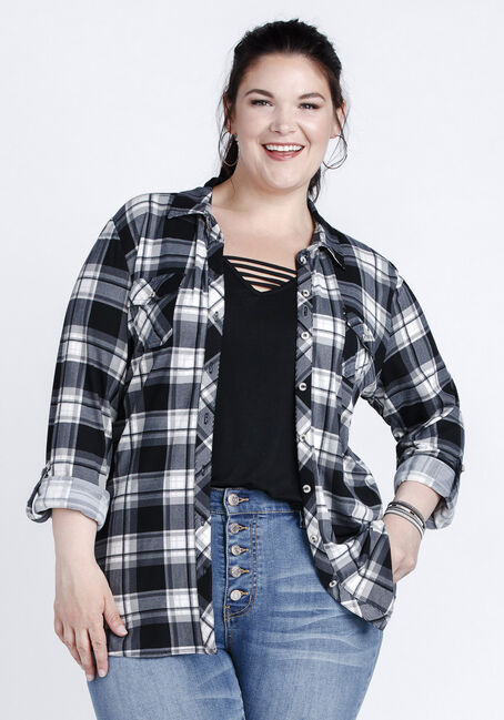 Women's 2-Pocket Knit Plaid Shirt, BLACK, hi-res