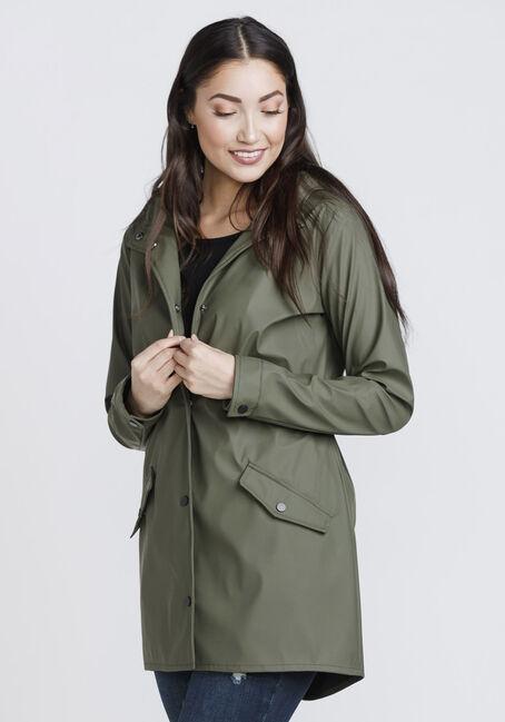Women's Anorak Rain Jacket, OLIVE, hi-res
