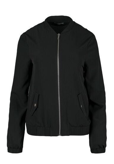Ladies' Crepe Bomber Jacket, BLACK, hi-res