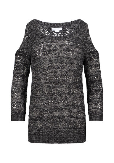 Women's Cold Shoulder Pointelle Sweater, BLK/CHARCOAL, hi-res