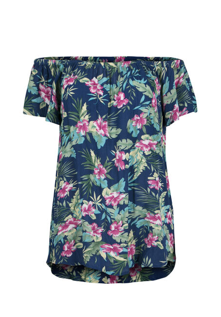 Ladies' Tropical Flower Bardot Top