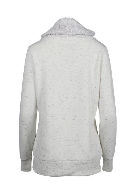 Women's Cowl Neck Fleece, WINTER WHITE, hi-res