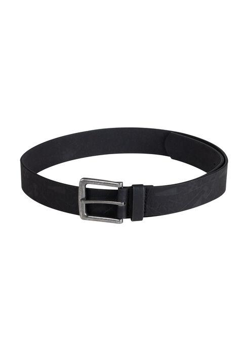 Men's Embossed Belt, BLACK, hi-res