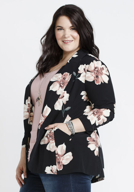 Ladies' Floral Ruched Sleeve Blazer, BLACK, hi-res