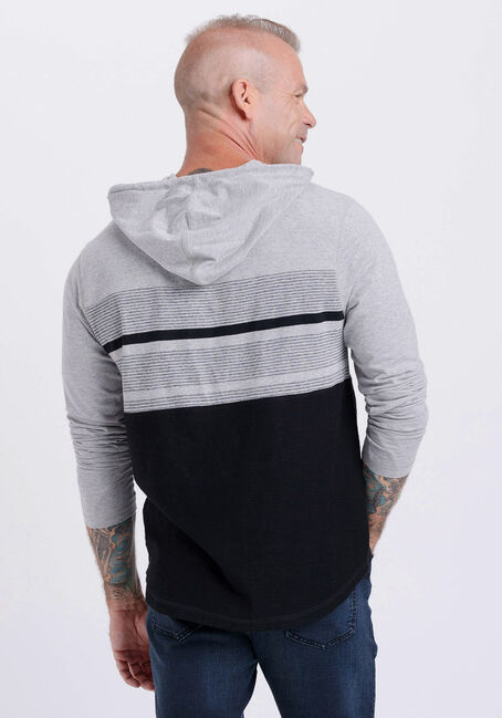 Men's Everyday Hooded Stripe Tee, HEATHER GREY, hi-res