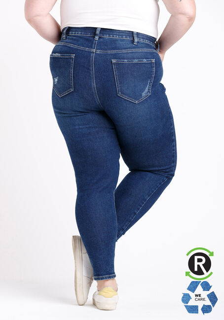 Women's Plus Size High Rise Chewed Hem Ankle Skinny Jeans, DARK WASH, hi-res