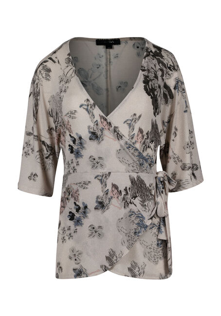 Ladies' Floral Shimmer Wrap Top