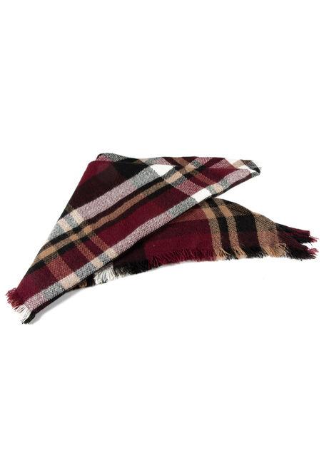 Women's Plaid Blanket Scarf, BURGUNDY, hi-res