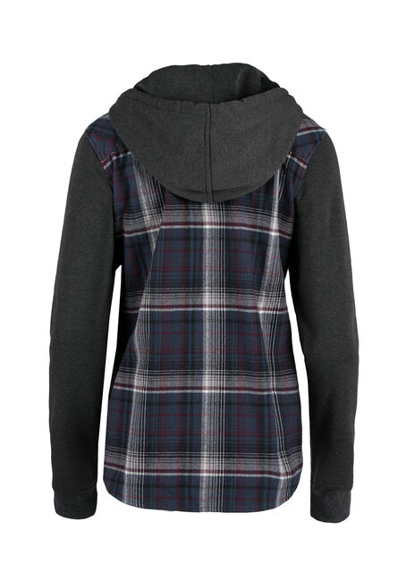 Ladies' Hooded Flannel Plaid Shirt, MOONLIGHT BLUE, hi-res