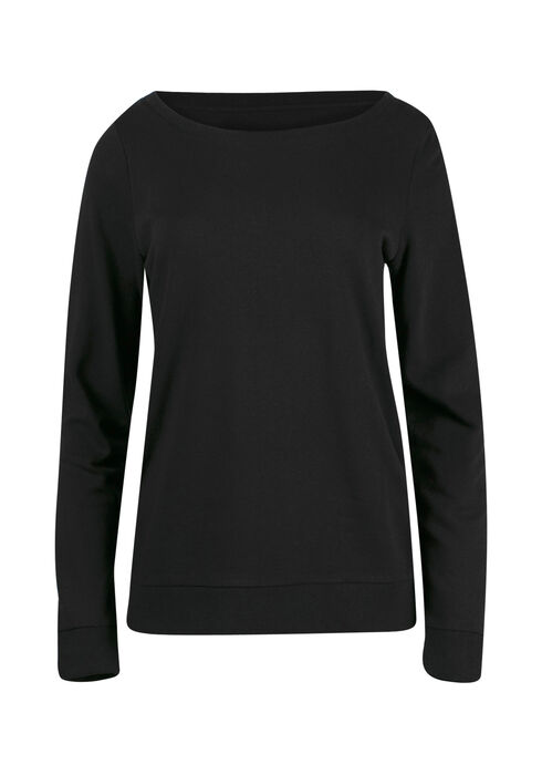 Ladies' Crew Neck Fleece, BLACK, hi-res