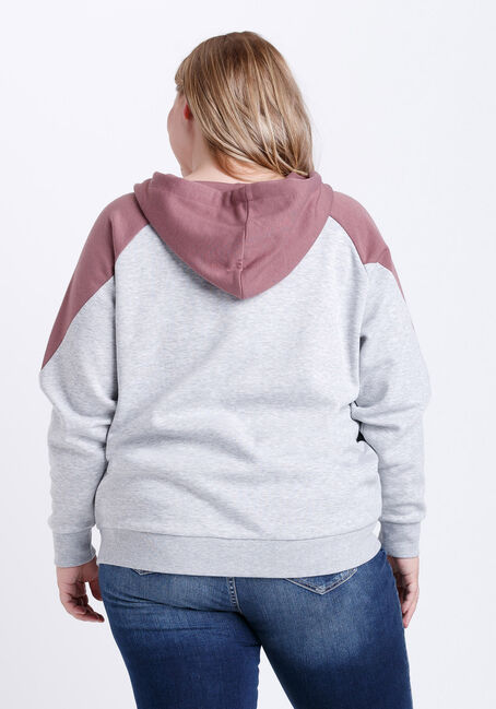 Women's Colour Block Zip Front Hoodie, PEONY PINK, hi-res