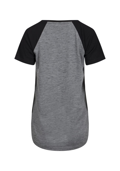 Women's V-Neck Baseball Tee, GREY/BLK, hi-res