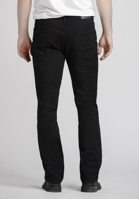 Men's Slim Straight Black Jeans, BLACK, hi-res