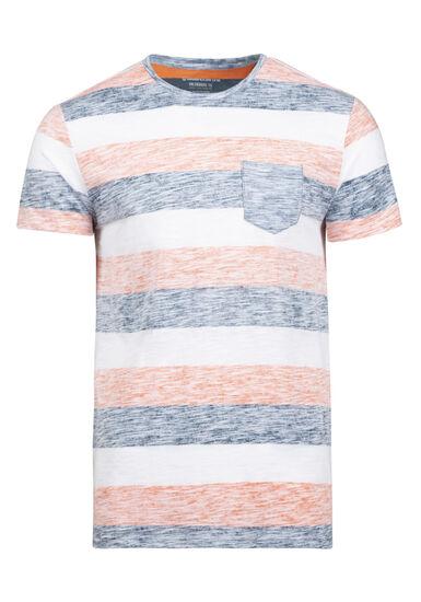 Men's Everyday Striped Pocket Tee, BRIGHT ORANGE, hi-res