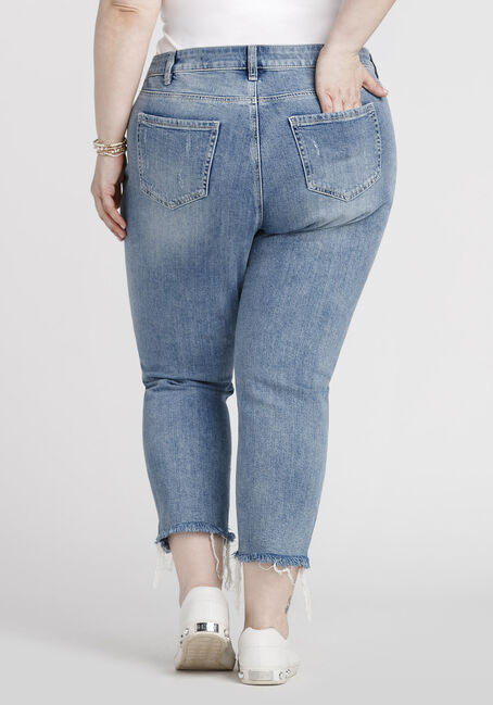 Women's Plus Size Raw Hem Straight Crop Jeans, MEDIUM WASH, hi-res