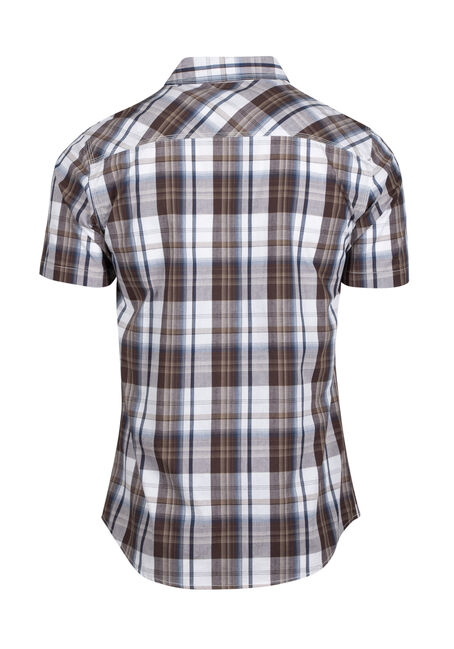 Men's Plaid Shirt, BROWN, hi-res