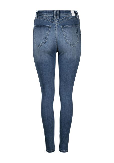 Women's High Rise Rip & Tear Skinny Jean, MEDIUM WASH, hi-res