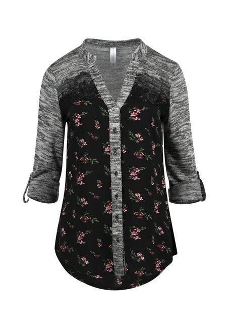 Women's Floral Roll Sleeve Shirt