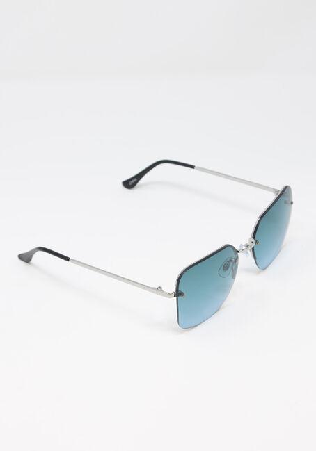 Women's Square Lense Aviator Sunglasses, TEAL, hi-res