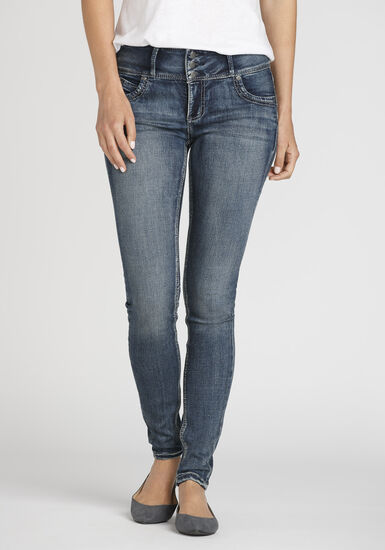 Women's Stacked Button Skinny Jeans, MEDIUM WASH, hi-res