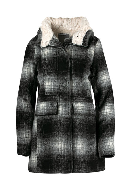Ladies' Plus Size Hooded Plaid Jacket